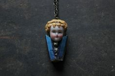 Frozen Charlotte doll necklace-German bisque doll necklace-pyrite blue Titanium Quartz necklace - unique locket necklace - raw crystal necklace $50.00 USD by xuanqirabbit, based in China and selling on Etsy