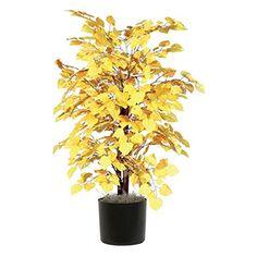 Vickerman 4' Artificial Yellow Aspen Bush set in Black Pot -- Read more  at the image link.