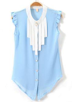Light Blue Stand Collar Tassel Ruffles Chiffon Blouse - Sheinside.com