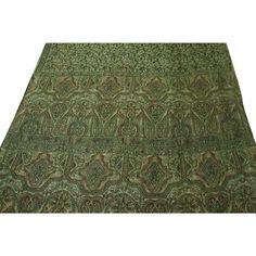 Indian Vintage Craft Saree Pure Silk Printed Fabric Décor Art Floral Green Sari