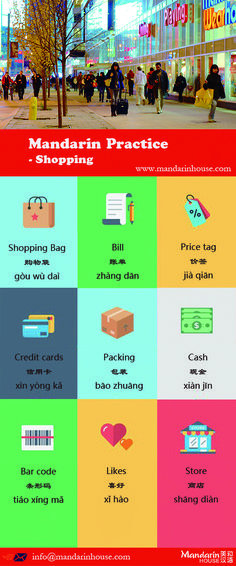 Shopping in Chinese. For more info please contact: bodi.li@mandarinhouse.cn The best Mandarin School in China
