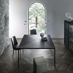 """Flat"" Table with black aluminum structure and brushed black oak top. (by Rimadesio)"