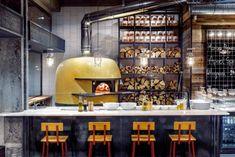 Fireplace has a color! The main accent. Restaurant Design Concepts, Pizzeria Design, Restaurant Kitchen Design, Pub Design, Restaurant Interior Design, Italian Restaurant Decor, Pizza Restaurant, Rustic Basement Bar, Four A Pizza