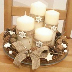 How to Make Easy Christmas Decorations on a Budget - Burlap Wrapped Candles - DIY xmas ornaments womenfashion christmasfashion fashion # Christmas Advent Wreath, Easy Christmas Decorations, Christmas Candles, Christmas Centerpieces, Rustic Christmas, Simple Christmas, Winter Christmas, Christmas Themes, Christmas Crafts