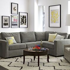 Dunham Sectional - Box Cushion #WestElm | SIMPLY SECTIONALS | Pinterest | Grey Natural rug and Dark rooms : west elm dunham sectional - Sectionals, Sofas & Couches