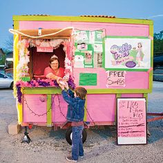 """Cutie Pies food trailer in downtown Austin, Texas. The trailer, owned by Jaynie """"The Pie Queen"""" Buckingham, is known for it's buttermilk pies."""