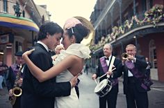 NOLA Wedding photoshoot. I like the brass band and dig the purple. Note green, gold, and purple colors.