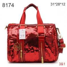 For My Holiday ,Michael Kors Tote Handbags,Michael Kors Removed Strap Paillette Tote Red Golden Hardware Sale-139