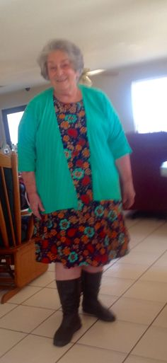 My Lovely 70 something cousin wearing a LuLaRoe Carly and Lindsay, And looking fabulous if I don't say so myself :)