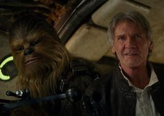 Harrison Ford and Han Solo and Peter Mayhew and Chewbacca in Star Wars: Episode VII - The Force Awakens