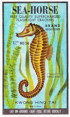 Sea Horse Firecracker Brick Label