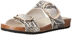 Rachel Zoe Women's Philly Snake Print Slide Sandal, Black/White, 8.5 M US. Gold hardware.