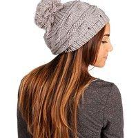 Gray Knitted Pom Pom Beanie