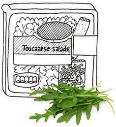 Nee, in Toscane weten ze ook niet wat dat is, een Toscaanse salade. Maar voor een fractie van de prijs flans je zelf iets lekkers in elkaar, met een lékkere dressing in plaats van die vieze zoete smurrie.