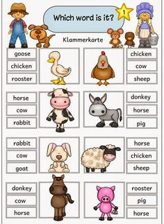 "Idea trip: bracket cards ""farm animals"" - Top Of The World Education English, English Class, English Lessons, Kids Education, Teaching English, Learn English, English Games, English Activities, Preschool Activities"