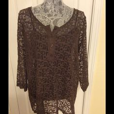 Brown sheer Tunic 3/4 length sleeve brown sheer tunic- must wear a cami underneath Liz Claiborne Tops