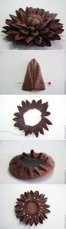 Делаем эффектную брошь «Георгин» из ткани - Ярмарка Мастеров - ручная работа, handmade
