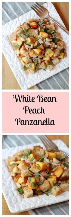 White Bean Peach Panzanella Salad