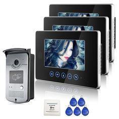 FREE SHIPPING Touch Monitor 7 inch Video Intercom Door Phone Doorbell System 3 Monitors + 1 RFID Access Outdoor Camera IN STOCK #Affiliate