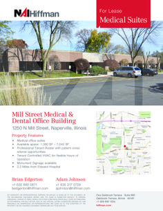 1250 N Mill Street Naperville, IL Size sqft. 1,300-7,042 SF Unit Category Office Trans. Type Lease Company  NAI Hiffman