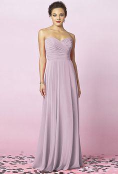 After Six long, strapless lavender bridesmaids dress.