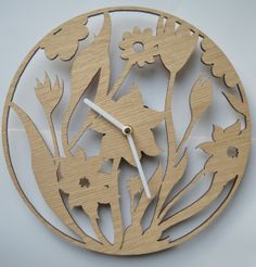 Floral Design Laser cut clock by DomusDecorClocks on Etsy, £35.00
