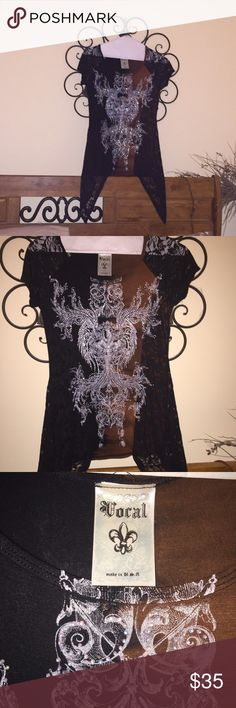 Vocal Shirt Bring on the bling!   Beautiful black & brown Vocal sharkbite shirt.   Black lace down both sides. Vocal Tops Blouses