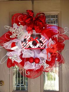 Lighted Mesh Christmas Wreath on Etsy, $75.00