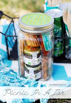 Be ready for a spur-of-the-moment picnic or date night with a Picnic In A Jar. Switch out the plastic wrap for cloth, use bamboo forks and spoons and cloth napkins and you are  good to go!