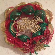 Merry Christmas red, green and gold deco mesh wreath