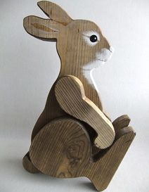 Rabbit leaning on wooden toy heather MOKU - Rabbit leaning on wooden toy heather MOKU - Wooden Projects, Wooden Crafts, Wooden Diy, Woodworking Art Ideas, Woodworking Toys, Rabbit Crafts, Wood Craft Patterns, Wood Animal, Wooden Figurines