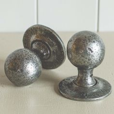 Hand Forged Round Door Knobs (Pair) - Pewter