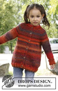 "Knitted DROPS jacket with raglan in 2 strands ""Delight"". Size 3 to 12 years. ~ DROPS Design"