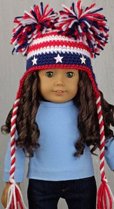 "STARS 'N STRIPES ★ JULY 4TH HAT for AMERICAN GIRL DOLLS ★ Independence Day or 4th of July Hat crochet pattern from the book ""Amigurumi Holiday Hats for 18-Inch Dolls"" by Linda Wright. Book available at http://amazon.com/dp/0980092396/"
