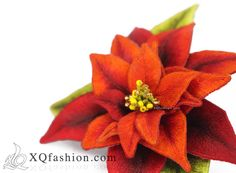 Poinsettia Hand Embroidery Brooch by XQfashion.com Insta: XQfashionvn