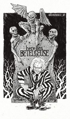 "wallpaper tim burton ""Say my name"", Beatriz Rebollo Beetlejuice Tattoo, Beetlejuice Movie, Tim Burton Beetlejuice, Tim Burton Stil, Tim Burton Kunst, Burton Burton, Anime Art Fantasy, Arte Horror, Horror Art"
