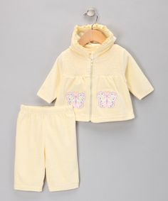 Take a look at this Yellow Smocked Hoodie & Pants by Baby Essentials on #zulily today!