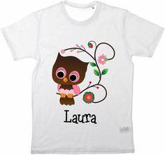 Kinder T-Shirt Süsse Eule Wunschname von MilaLu auf DaWanda.com