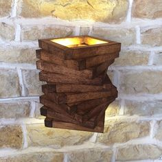 Abstract Rustic Handmade Wood Wall Light Spiral Up Down Wall Wash Lamp Sconce Wooden Oak Square by Uniquelightingco on Etsy https://www.etsy.com/listing/237945093/abstract-rustic-handmade-wood-wall-light