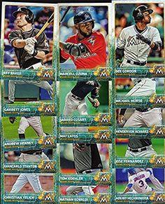 Miami Marlins 2015 Topps MLB Baseball Regular Issue Complete Mint 19 Card Team Set with Giancarlo Stanton, Jose Fernandez Plus