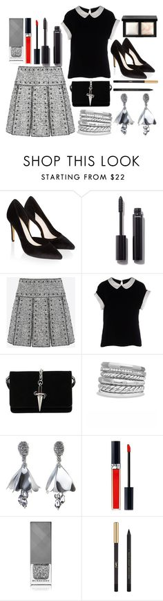 """Tweed Skirt"" by princess13inred ❤ liked on Polyvore featuring Monsoon, Chanel, Valentino, Armani Collezioni, Cesare Paciotti, David Yurman, Oscar de la Renta, Christian Dior, Burberry and Yves Saint Laurent"
