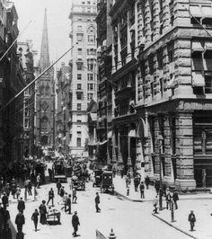 Wall Street and Old Trinity Church- NYC 1910
