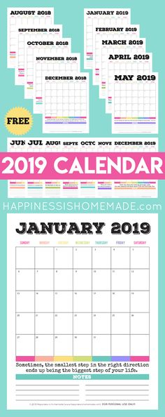 Looking for a FREE printable monthly calendar? This printable calendar (August 2019 - December makes organizing & planning simple! 2018 Printable Calendar, Today Calendar, Planning Calendar, Monthly Calendar Template, School Calendar, Free Printable Calendar, 2019 Calendar, Calendar Pages, Templates Printable Free