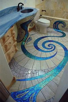 mosaic bathroom floor by Antonio Gaudi! Glass Tile Bathroom, Mermaid Bathroom Decor, Bathroom Tile Designs, Glass Mosaic Tiles, Mosaic Designs, Bathroom Flooring, Mosaic Ideas, Bathroom Ideas, Modern Bathroom