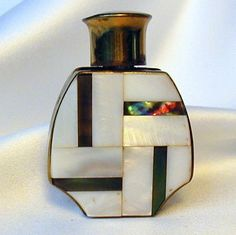Mother of Pearl Abalone Brass Parquet Inlay Vintage Miniature Perfume Bottle   eBay