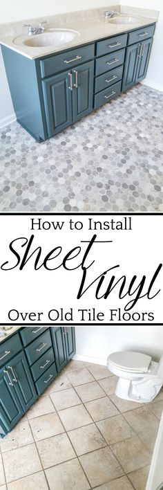 All of the supplies and steps you need for installing sheet vinyl flooring over old tile yourself for a temporary fix. #flooring #sheetvinyl
