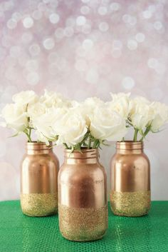 Gold mason jars at a chocolate is better than football girl's night out party! See more party planning ideas at CatchMyParty.com!