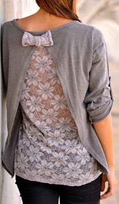 So cute! Without that bow at the top, LOL --  LoLus Fashion: LoLus Fashion : Grey Clever Lace Bow Back Blouse