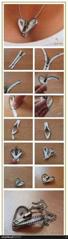 Fashionable DIY Zipper heart necklace.