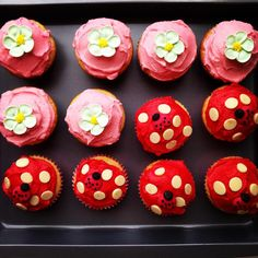 Buttercream cupcakes with fondant flowers and Toadstool cupcakes with ladybugs